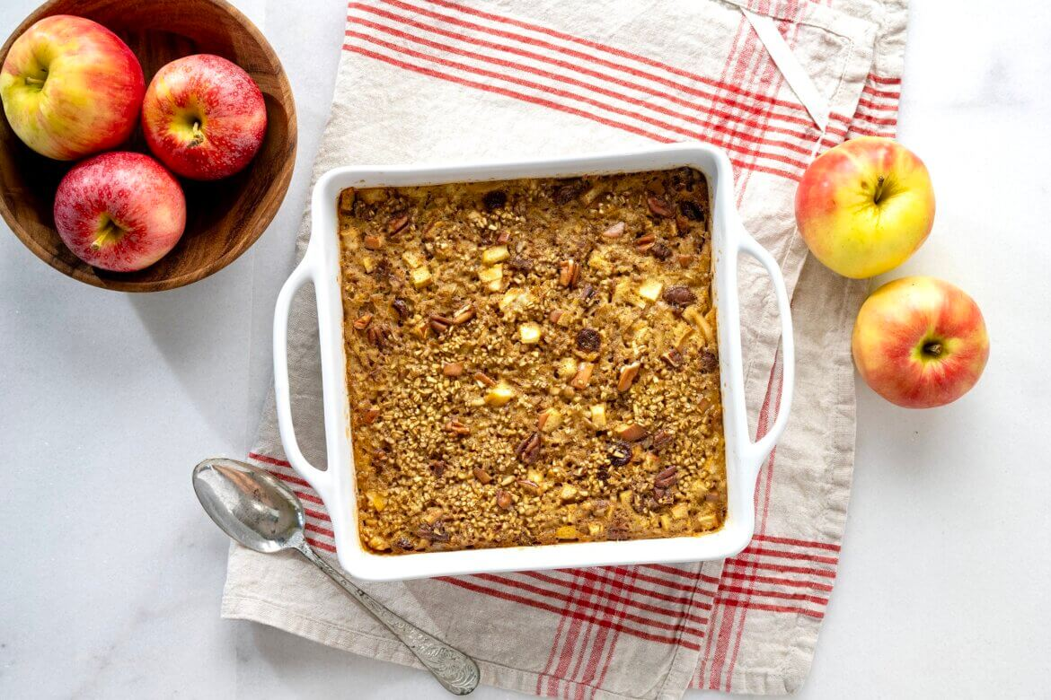 Steel cut oats add something exciting to the world of baked oatmeal in this prep-ahead breakfast that's worth waking up for!